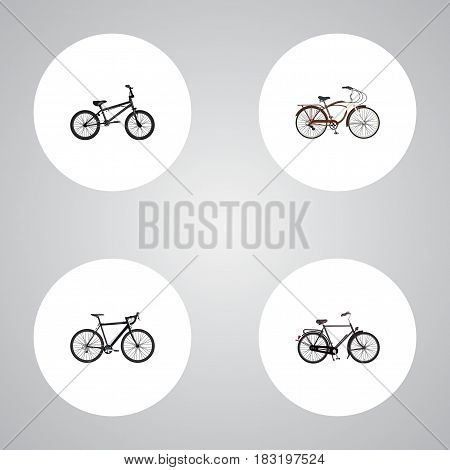 Realistic Extreme Biking, Cyclocross Drive, Journey Bike And Other Vector Elements. Set Of Sport Realistic Symbols Also Includes Bicycle, Velocipede, Cruise Objects.