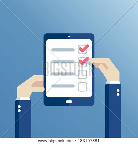 Hands holding tablet with checklist on the screen flat design. Hands of businessman mark completed items on the check list.