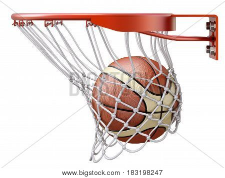 Basketball going into the basket hoop - 3D illustration
