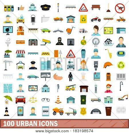100 urban icons set in flat style for any design vector illustration