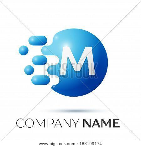 M Letter splash logo. Blue dots and circle bubble letter design on grey background. Vector Illustration