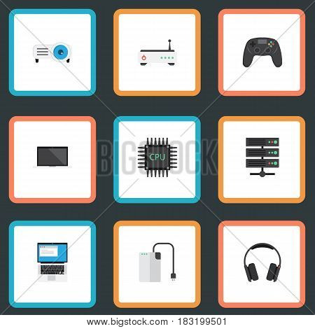 Flat Monitor, Microprocessor, Joystick And Other Vector Elements. Set Of PC Flat Symbols Also Includes Presentation, Headphone, PC Objects.