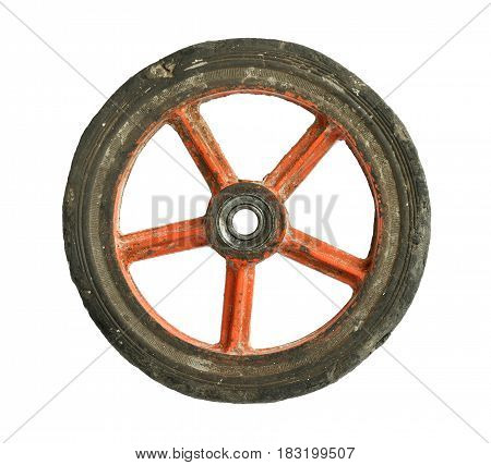 Dirty cart wheel isolated on white background