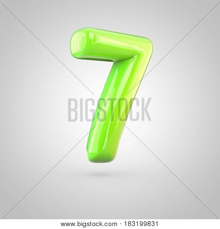 Glossy Lime Paint Alphabet Number 7 Isolated On White Background