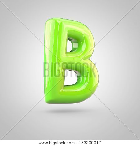 Glossy Lime Paint Alphabet Letter B Uppercase Isolated On White Background