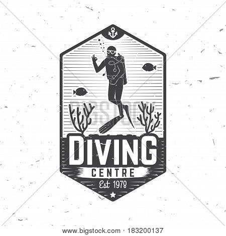 Diving centre. Vector illustration. Concept for shirt or logo, print, stamp or tee. Vintage typography design with diver silhouette.