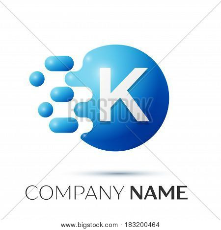 K Letter splash logo. Blue dots and circle bubble letter design on grey background. Vector Illustration