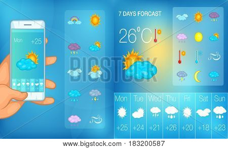 Weather banner set in cartoon style for any design vector illustration