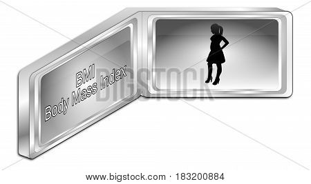 silver Body Mass Index Button - 3D illustration