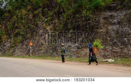 HA GIANG VIETNAM - SEP 26 2016. Hmong people walking on countryside road to coming home after finish work in Ha Giang north of Viet Nam.