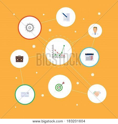 Flat Calendar, Diagram, Cogwheel And Other Vector Elements. Set Of Business Flat Symbols Also Includes Employee, Mail, Gear Objects.