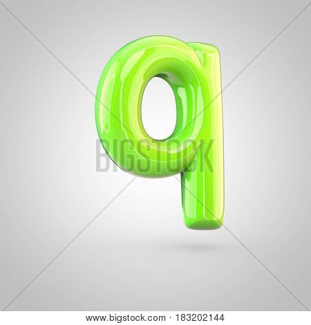 Glossy Lime Paint Alphabet Letter Q Lowercase Isolated On White Background
