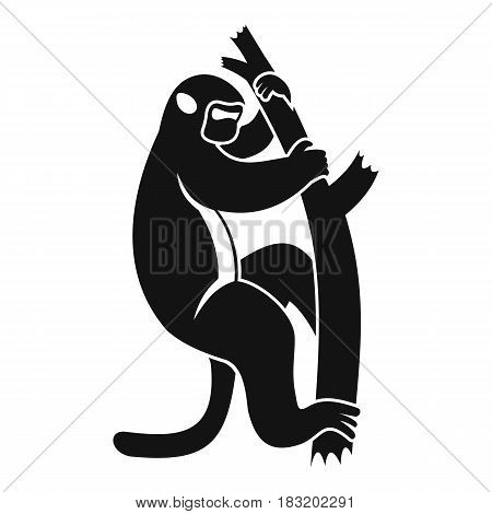 Macaque on a tree icon. Simple illustration of macaque on a tree vector icon for web