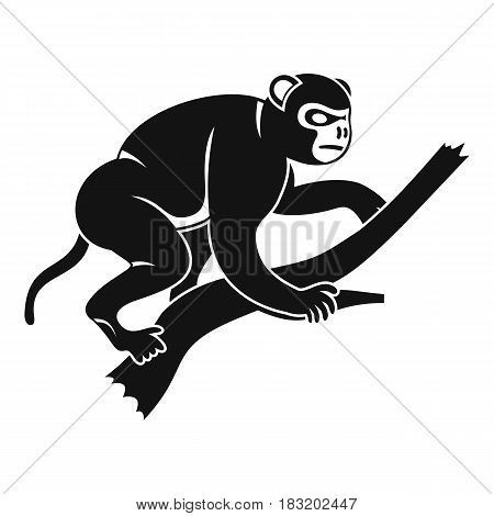 Monkey is climbing up on a tree icon. Simple illustration of monkey is climbing up on a tree vector icon for web