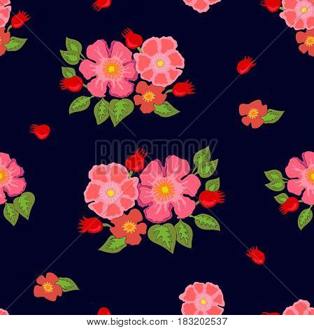 Seamless vector pattern with roses and wildflowers.