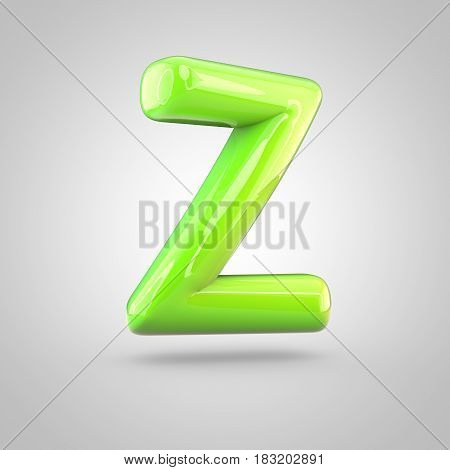 Glossy Lime Paint Alphabet Letter Z Uppercase Isolated On White Background
