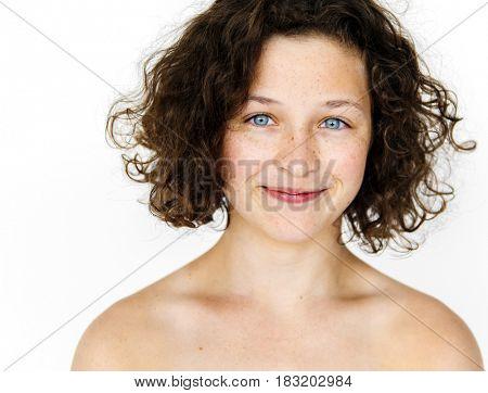A girl is in a studio shoot