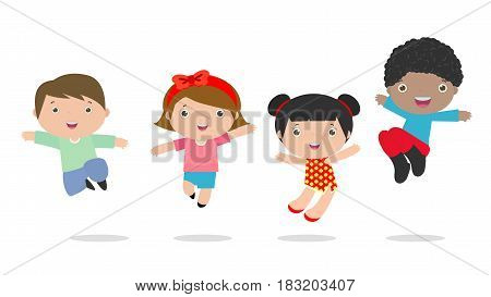 Kids jumping with joy , happy jumping kids, happy cartoon child playing, Kids playing on white background , Vector illustration