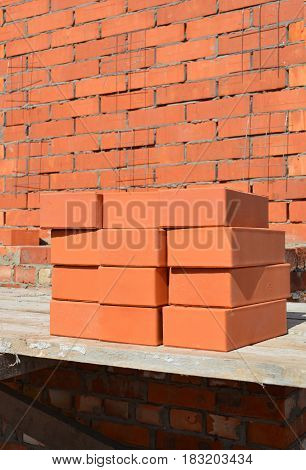 Bricklaying Concept. Close up on Bricklaying Brickwork. Bricklaying Masonry.