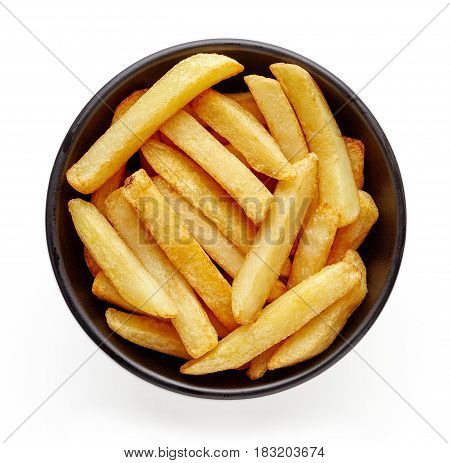 Bowl Of French Fries Isolated On White, From Above
