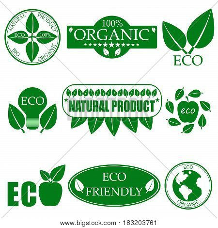 Eco food organic bio product eco friendly badge vegan icon ecology. Set of vector green nature logo design element badge label and ecology logotype template environment plant energy sticker.