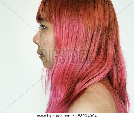 Portrait of young woman asian red hair
