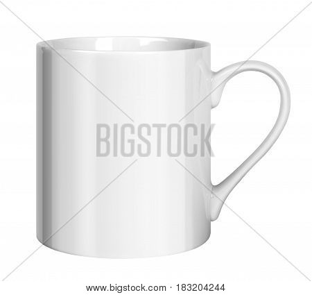 White porcelain cup isolated on white background