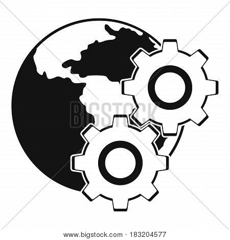 World planet and gears icon. Simple illustration of world planet and gears vector icon for web