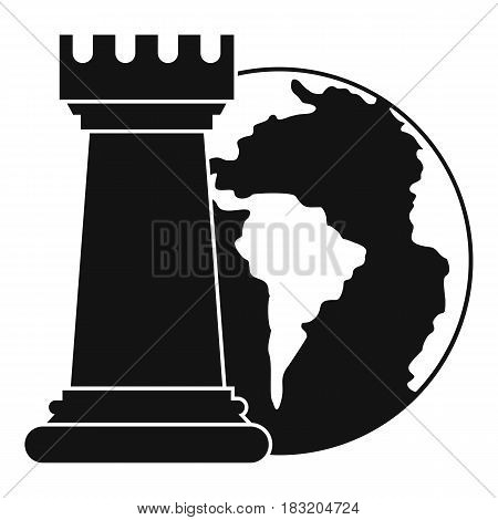 World planet and chess rook icon. Simple illustration of world planet and chess rook vector icon for web