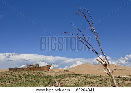 Wooden Ship In The Desert