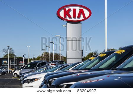 Indianapolis - Circa April 2017: Kia Motors Local Car Dealership. Kia Motors is minority owned by the Hyundai Motor Company II