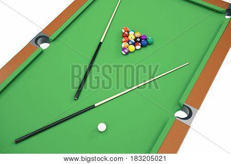 3D illustration Billiard balls on green table with billiard cue, Snooker, Pool game. Billiard concept
