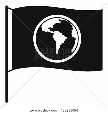 Flag with world planet icon. Simple illustration of flag with world planet vector icon for web