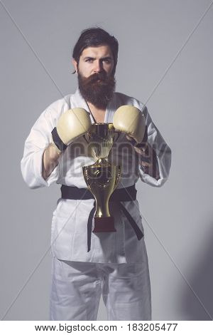 Bearded Karate Man In Kimono, Boxing Gloves, Champion Cup