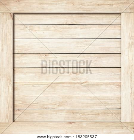 Side of brown wooden crate, box, wall or frame.