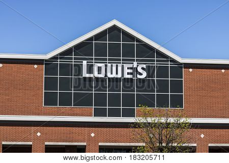 Indianapolis - Circa April 2017: Lowe's Home Improvement Warehouse. Lowe's operates retail home improvement and appliance stores in North America IV
