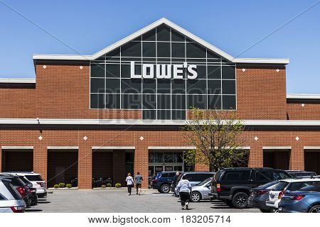 Indianapolis - Circa April 2017: Lowe's Home Improvement Warehouse. Lowe's operates retail home improvement and appliance stores in North America V