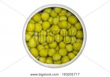 Tin with green peas isolated on a white background.