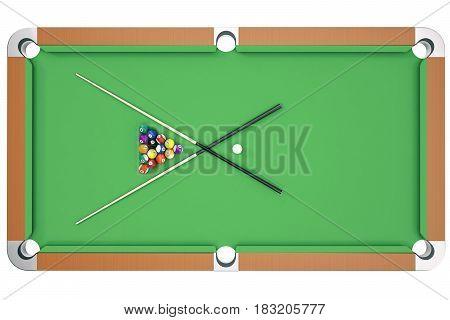 3D illustration American pool snooker balls background. American Billiard. Bar game. Billiard table game, top view