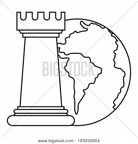 World planet and chess rook icon in outline style isolated on white background vector illustration