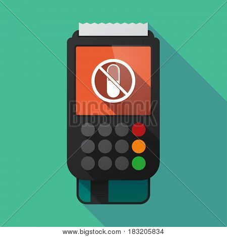 Long Shadow Dataphone With  A Pill  In A Not Allowed Signal