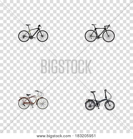 Realistic Journey Bike, Exercise Riding, Hybrid Velocipede And Other Vector Elements. Set Of Lifestyle Realistic Symbols Also Includes Road, Cruise, Hybrid Objects.
