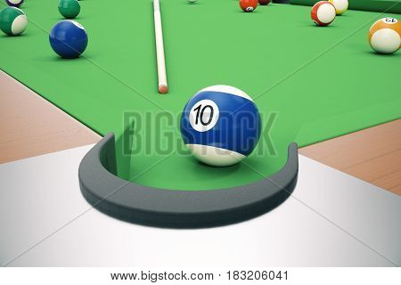 3D illustration American pool snooker balls background. American Billiard. Close-up Billiard balls. Bar game. Billiard table game.
