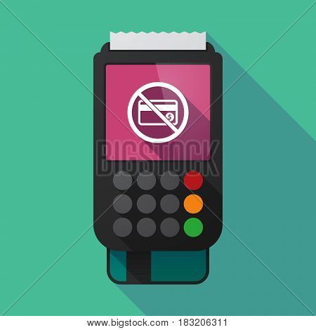 Long Shadow Dataphone With  A Credit Card  In A Not Allowed Signal