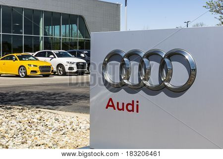 Indianapolis - Circa April 2017: Audi Automobile and SUV luxury car dealership. Audi is a member of the Volkswagen Group I