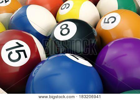 3D illustration American pool snooker balls background. American Billiard. Close-up Billiard balls. Bar game.