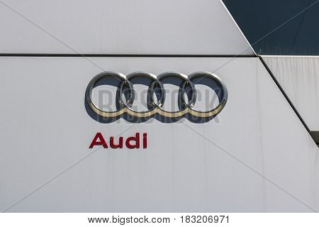 Indianapolis - Circa April 2017: Audi Automobile and SUV luxury car dealership. Audi is a member of the Volkswagen Group IV