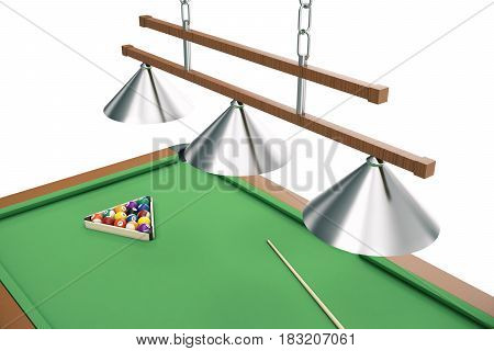 3D illustration Billiard balls on green table with billiard cue, Snooker, Pool game, Billiard concept