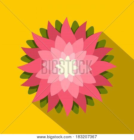 Pink lotus flower icon. Flat illustration of pink lotus flower vector icon for web on yellow background