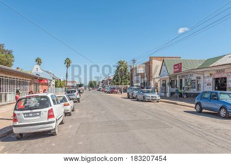 LADISMITH SOUTH AFRICA - MARCH 25 2017: A street scene in Ladismith a small town in the Western Cape Province